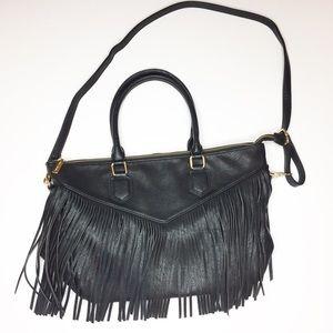 NWOT Fringe BoHo Bag Black vegan Leather Large